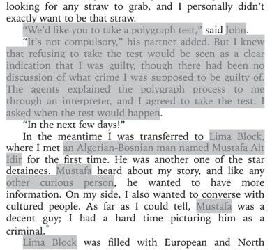 Ausschnitt einer Seite des zunächst zensierten Buches von Slahi